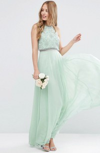casual Jewel-Neck Sleeveless Chiffon Long Dress With Beading