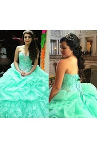 Ball Gown Sleeveless Floor-length Sweetheart Organza Prom Dress with Lace-up Back