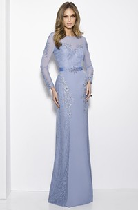 Sheath Long-Sleeve Jewel-Neck Lace Long Prom Dress With Appliques
