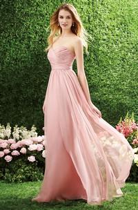 Sweetheart Criss cross Chiffon Bridesmaid Dress With Zipper