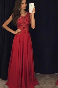 Evening Lace Appliqued Chiffon Sleeveless Fit-And-Flare Dress