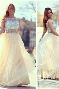 Newest A-line Tulle Prom Dresses 2018 Crystals Evening Party Gowns With Beadings