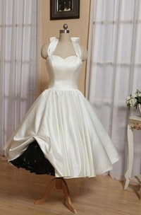 Wedding Bow Lace-Up Back Tea-Length Halter Dress