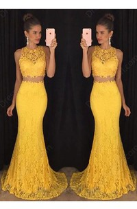 Jewel-Neck Sleeveless Lace Two Piece Prom Dress With Appliques And Sweep Train