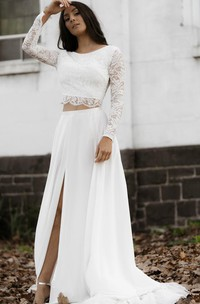 Casual Long Sleeve Two Piece Chiffon Lace Bateau Wedding Dress with Split Front