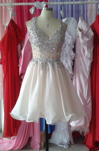 Sleeveless A-line Short Chiffon Dress With Crystal Detailing