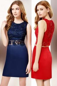 Jewel-Neck Sleeveless Pencil Satin short Dress