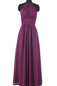 Floor-length Halter Chiffon Dress