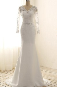 Maxi V-Neck Long Sleeve Beading Sweep Train Lace Satin Dress