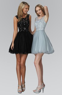 A-Line Satin Jeweled Sequined Short Mini Sleeveless Bateau Tulle Dress