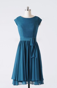 Scoop-neck Cap-sleeve Chiffon short A-line Dress With Pleats And bow