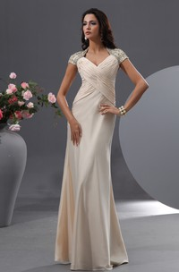 Graceful Shiny Floral Cap-Sleeves Queen-Anne Anne Gown