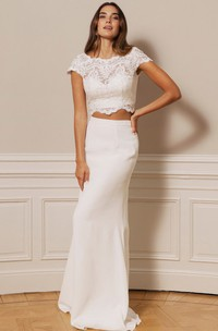Simple Scalloped Two Piece Chiffon Lace Floor-length Button Wedding Dress