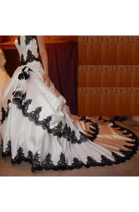 Sweetheart Ball Gown Sleeveless Taffeta Floor-length Cathedral Train Wedding Dress with Corset Back