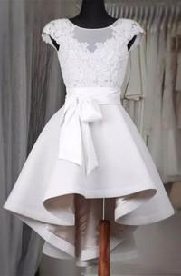 Short Sleeve A-line High-low Bateau Ruffles Sash Ribbon Satin Lace Homecoming Dress