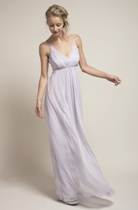 Spaghetti-strap Empire Ruched Chiffon Dress With Low-V Back