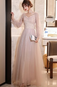 Queen Anne High Neck V-neck Tulle Floor-length Formal Dress With Appliques