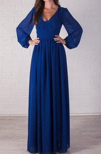 dipped-v-neck bell-sleeve Floor-length Dress With Pleats