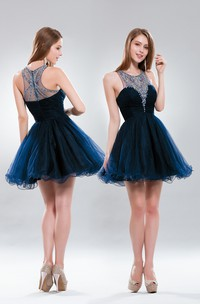 A-Line Short High Neck Sleeveless Tulle Illusion Dress With Beading And Ruffles