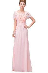 Floral Bodice Chiffon Short-Sleeved Dress
