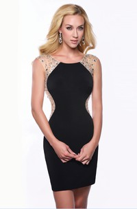 Illusion Back Short Sheath Homecoming Dress With Scoop Neck And Shining Detailing