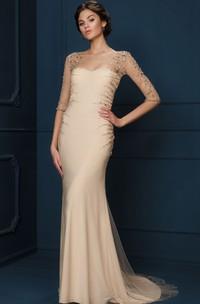 Illusion Bateau Sheath Evening Dress With Crystal Detailing