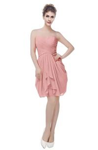 Chiffon Criss-Cross Ruched Short Sweetheart Gown