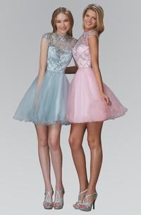 A-Line Ruffled Sequined Short Mini Cap-Sleeve Jewel-Neck Tulle Dress