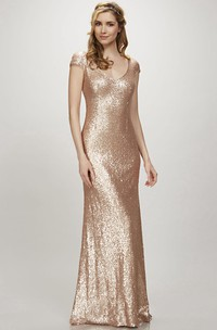 Sequined Cap-sleeve Sheath Dress With Pleats And Zipper