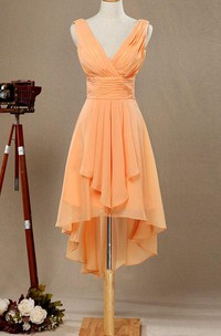 Plunged Sleeveless Chiffon short High-low Bridesmaid Dress With Draping