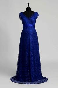 A-line Lace V-neck Floor-length Sweep/Brush Train Short Sleeve Maternity Dress with Sash/Ribbon