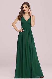 Sexy V-neck Chiffon A Line Sleeveless Prom Dress With Ruffles