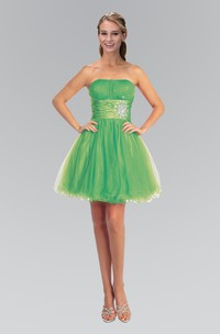 A-Line Mini Strapless Sleeveless Tulle Corset Back Dress With Ruffles And Beading