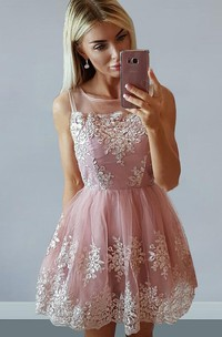 Sleeveless A-line Short Mini Bateau Appliques Pleats Ruching Lace Homecoming Dress