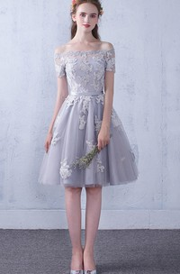 Off-the-shoulder Lace Tulle Knee-length Formal Dress With Appliques