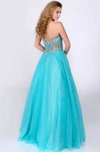 Sweetheart Glimmering Rhinestones Bust Strapless Tulle A-Line Gown