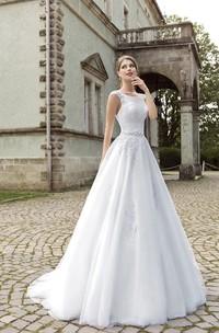 A-line Illusion Back Appliques Sleeveless Dress