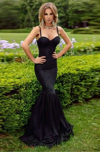 Mermaid Floor-length Spaghetti Sleeveless Jersey Dress with Pleats