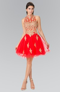 A-Line Short High Neck Sleeveless Tulle Keyhole Dress With Ruffles And Appliques