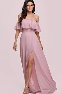 Sexy Off-the-shoulder Chiffon A Line Guest Dress With Ruffles and Split Front