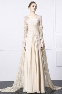 Unique Square Sheath Lace Chiffon Gown With Bat Sleeve And Train