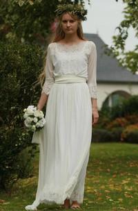 Bateau Long Sleeve Lace Chiffon Pleated Wedding Dress