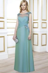 Ruched Jewel Floor-Length Cap-Sleeve Formal Dress