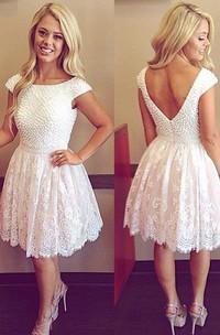 Short Sleeve A-line Short Mini Bateau Beading Pleats Lace Homecoming Dress