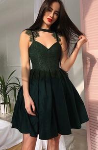Sleeveless A-line Short Mini High Neck V-neck Lace Pleats Ruching Chiffon Lace Homecoming Dress
