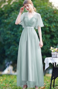Off-the-shoulder V-neck Tulle Long Prom Evening Dress With Pleats