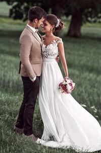 Jewel Chiffon Lace Cap Short Sleeve Wedding Gown
