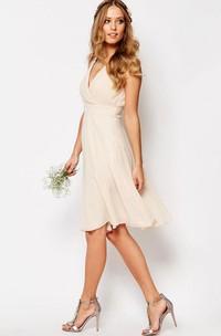 chic V-neck Chiffon Sleeveless Knee-length Dress With Beading
