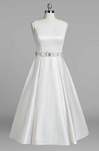 3-4-Length Jewel Sleeveless Jewel-Neckline Bridal Dress