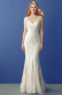 Plunged Sleeveless Sheath Lace Appliqued Wedding Dress With Illusion And Court Train